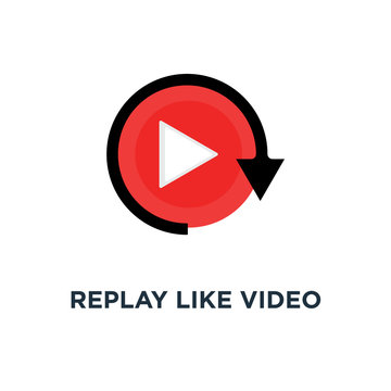 replay like video play button icon, symbol of watching on streaming video player or livestream webinar ui emblem concept simple style trend modern red logotype graphic design