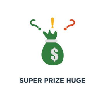 super prize huge bag of cash icon. money sack with dollar, grant offer, large fund concept symbol design, winning grand lottery, casino jackpot, quick loan, easy money vector illustration