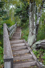 Winding wooden hiking trail and stairs at Tettegouche State Park in Minnesota