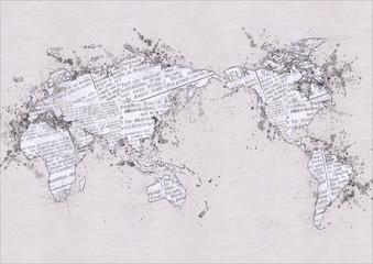 ノートに鉛筆で描いた世界地図