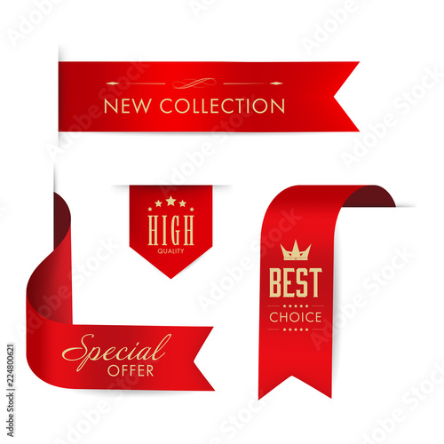 New tag ribbon and banner vector  Red badge luxury design