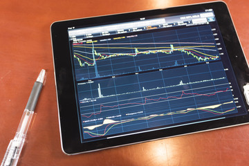 Stock graph with tablet