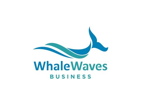 Abstract design of ocean logo with waves. sunset, sunrise, whale, Surfing and Water logo Design Template. Vector illustration