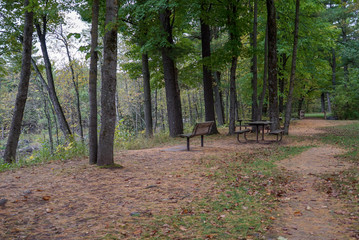 Beautiful picnic area in the deep woods at Jay Cooke State Park in Minnesota