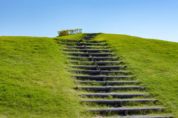 Stairs looking up in the green grass hill at spring time,Shikoku,Japan