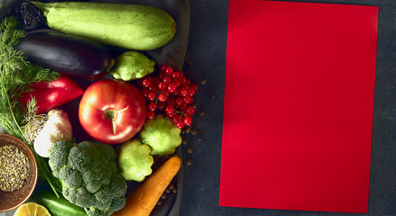 Still life of fresh vegetables on a dark background