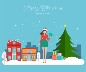 Santa claus woman with a gift box wishing merry christmas. winter background with snowflakes falling from the sky.
