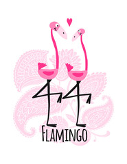 Couple of pink flamingos on floral background, sketch for your design