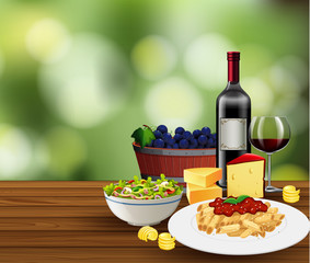 Meal with wine scene