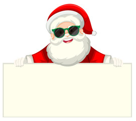 Santa with sunglasses holding piece of paper