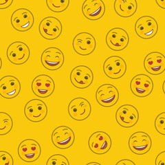 Funny emoticons seamless pattern. Smile faces with facial expressions on yellow background. Festive background with cute and cheerful yellow emoticons. Positive smile emoji vector illustration