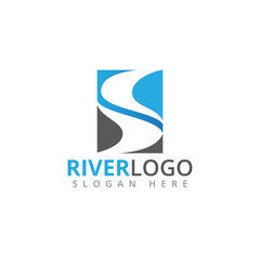 river flowing shape vector logo design