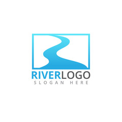 river stream flowing shape vector logo design