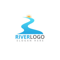 river flowing shape with sun in the peak vector logo design
