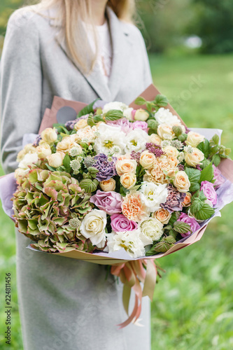 Beautiful Spring Bouquet In Hands Delicate Flower Arrangement With