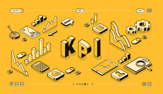 KPI business performance strategy and analysis vector illustration in thine line isometric design on yellow halftone background. Company management, growth indicators and infogrpahic charts