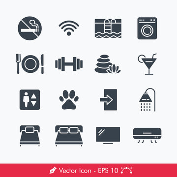 Hotel Related Signs Icons / Vectors Set - Contains Such no smoking, wifi, swimming pool, laundry, restaurant, spa, bar, elevator, bed, exit, shower, fitness center, television, air conditioner