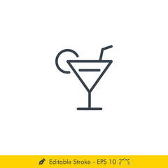 Bar, Alcohol, Drink Icon / Vector - In Line / Stroke Design