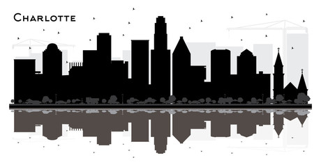 Charlotte City skyline black and white silhouette with Reflections.