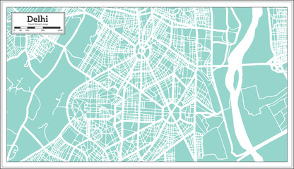 Delhi India City Map in Retro Style. Outline Map.