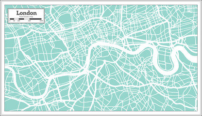London England City Map in Retro Style. Outline Map.