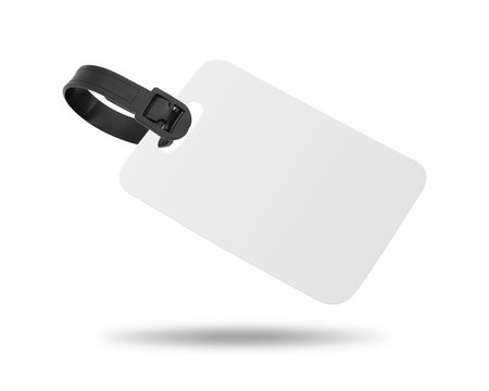 Blank luggage tag isolated on white background. Hanging tag or label for design. ( Clipping path )
