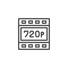 720p HD resolution outline icon. linear style sign for mobile concept and web design. Hdtv quality simple line vector icon. Symbol, logo illustration. Pixel perfect vector graphics