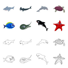 Vector illustration of sea and animal sign. Set of sea and marine stock vector illustration.