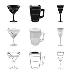 Vector illustration of drink and bar symbol. Collection of drink and party stock symbol for web.