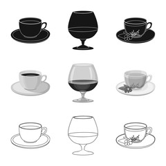 Isolated object of drink and bar symbol. Set of drink and party stock symbol for web.