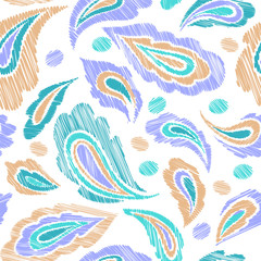 Oriental seamless paisley pattern in hand drawn style. Vector illustration for textile, fabric.