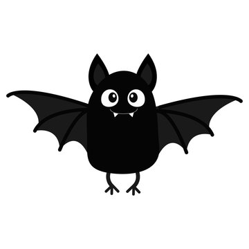 Bat vampire. Happy Halloween. Cute cartoon baby character with big open wing, ears, legs. Black silhouette. Forest animal. Flat design. White background. Isolated. Greeting card.