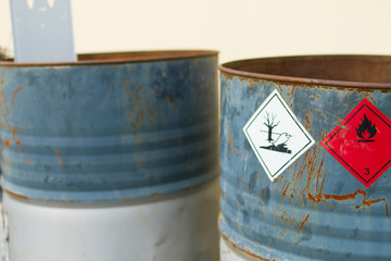 empty chemical barrels