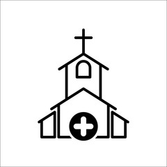 Church icon, Religion building, christian, christianity temple icon with add sign. Church icon and new, plus, positive symbol