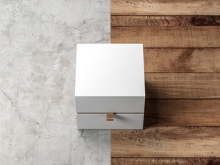 White Box packaging Mockup front Side View on modern background