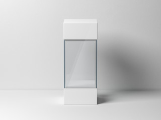 Empty glass box package mockup for exhibit