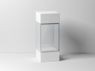 Empty plastic glass box package mockup for exhibit