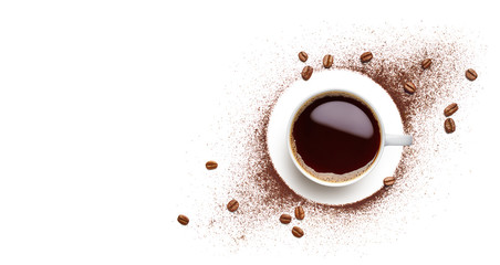 Black coffee, coffee beans and coffee powder