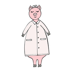 Vector hand-drawn funny pig doctor in a lab coat.