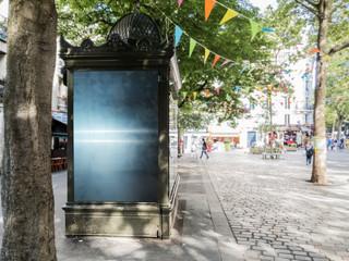 Outdoor newspaper kiosk advertisement billboard