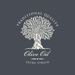 Vector banner or label for extra virgin olive oil with decorative olive tree and handwritten inscriptions on dark background in retro style