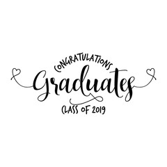 Congratulations Graduates Class of 2019 - Typography. gold texture and isolated white background.