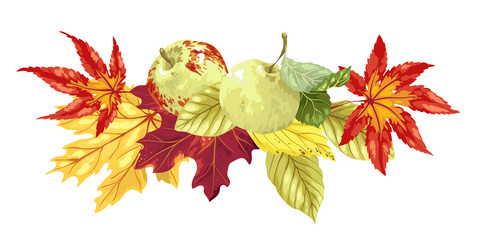 Vector decorative decor headline element with autumn bouquet