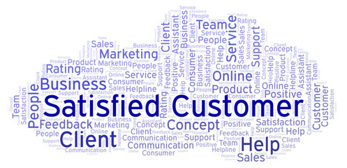 Satisfied Customer word cloud.