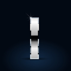 Chrome vector letter L lowercase isolated on black background