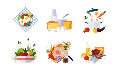 Healthy organic food set, diet menu, dairy, vegetable and meat products vector Illustration on a white background