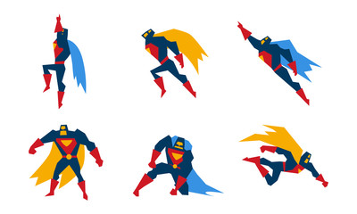 Superheroes set, superman character men with super powers vector Illustration on a white background