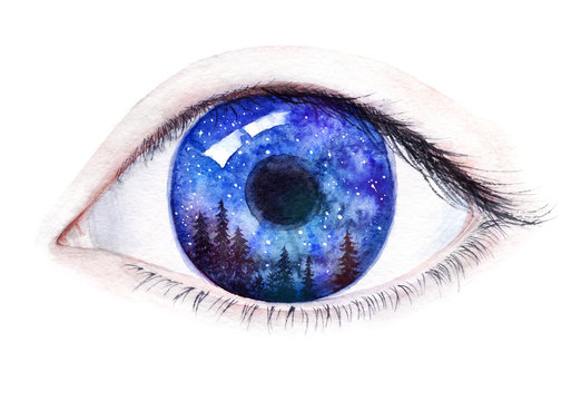 A human eye with a forest and starry sky reflecting on the iris. Watercolor illustration isolated on white.