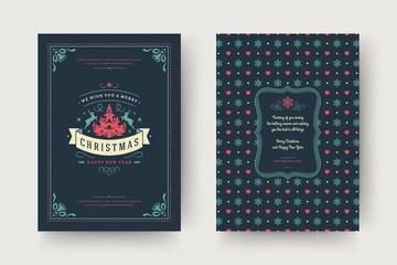 Christmas greeting card design template vector illustration.