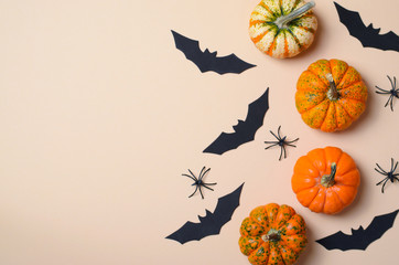 Halloween Background, Different Colorful Pumpkins, Black Bats and Spiders